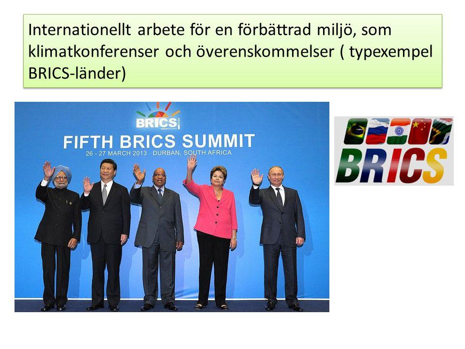 Internationellt arbete för en förbättrad miljö, som klimatkonferenser och överenskommelser ( typexempel BRICS-länder)