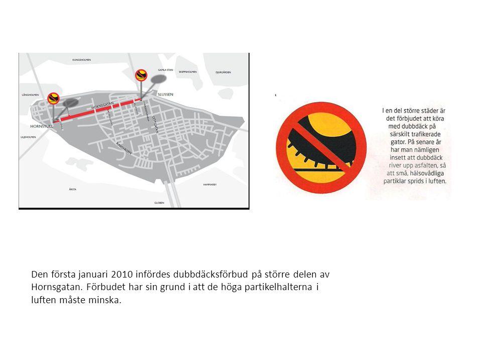 Den första januari 2010 infördes dubbdäcksförbud på större delen av Hornsgatan.