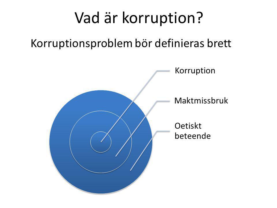 Vad är korruption Korruptionsproblem bör definieras brett Korruption