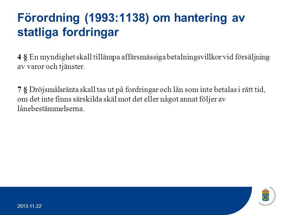 Förordning (1993:1138) om hantering av statliga fordringar