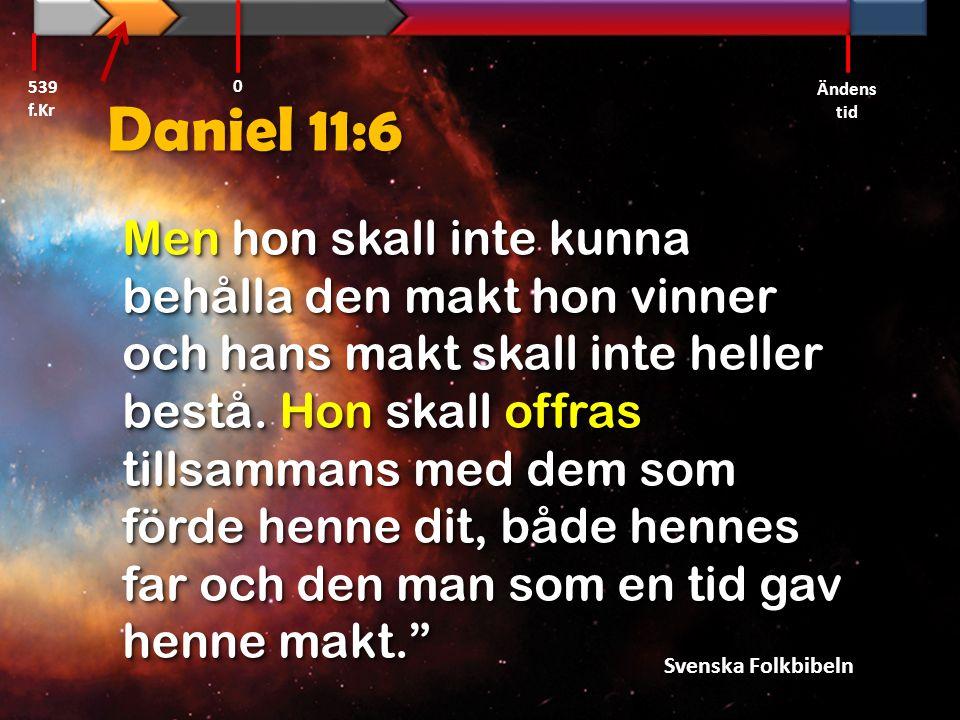 539 f.Kr Ändens tid. Daniel 11:6.