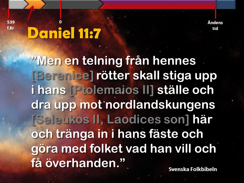 539 f.Kr Ändens tid. Daniel 11:7.