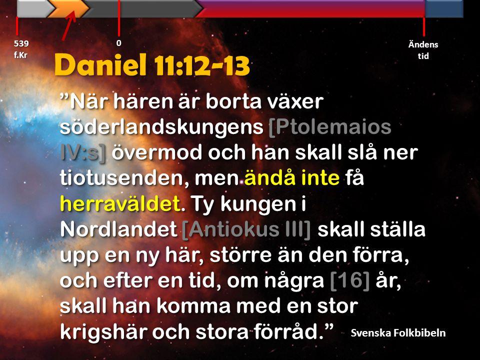 539 f.Kr Ändens tid. Daniel 11:12-13.