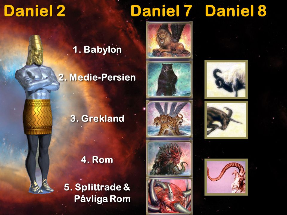 Daniel 2 Daniel 7 Daniel 8 1. Babylon 2. Medie-Persien 3.
