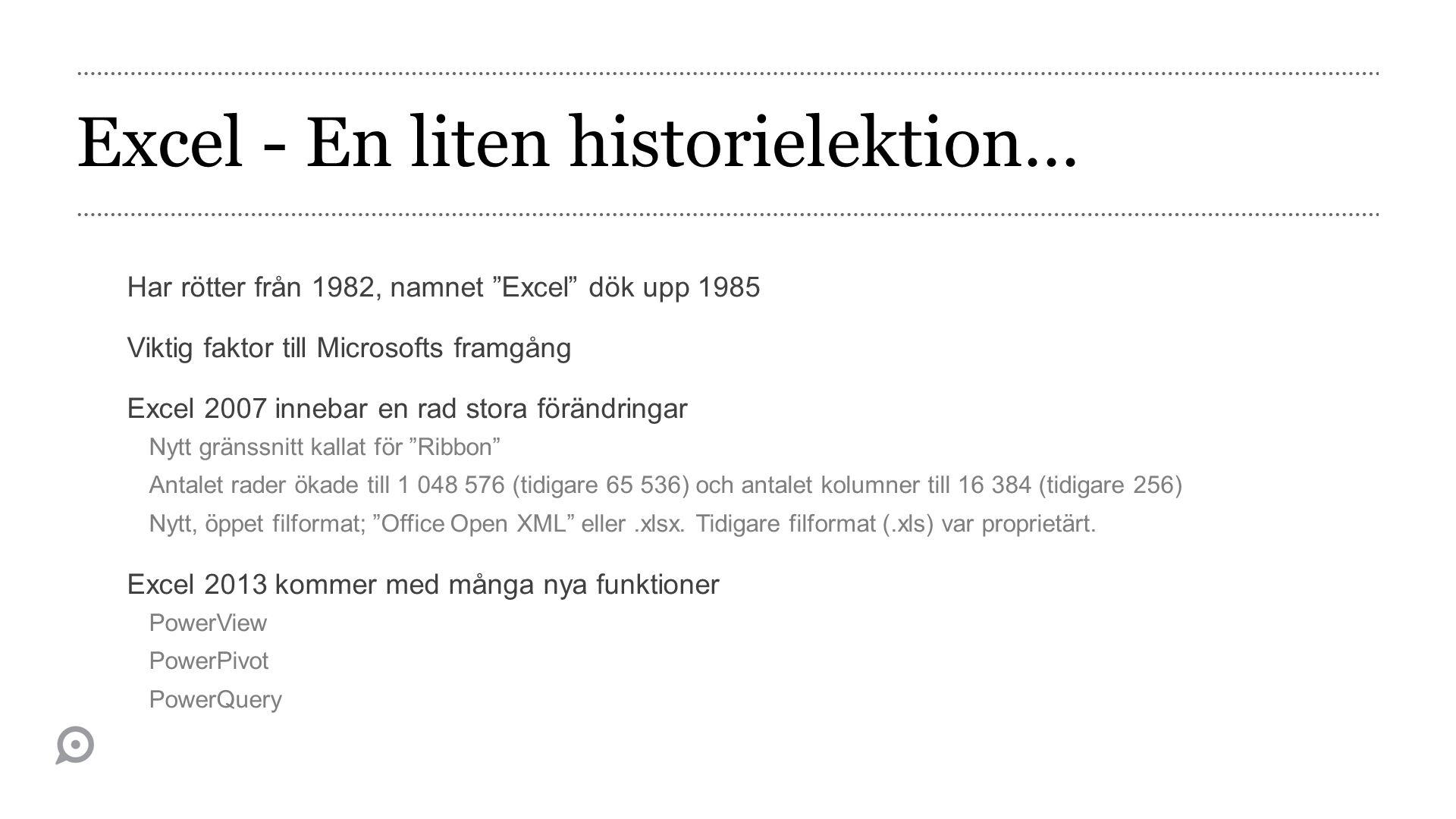 Excel - En liten historielektion…