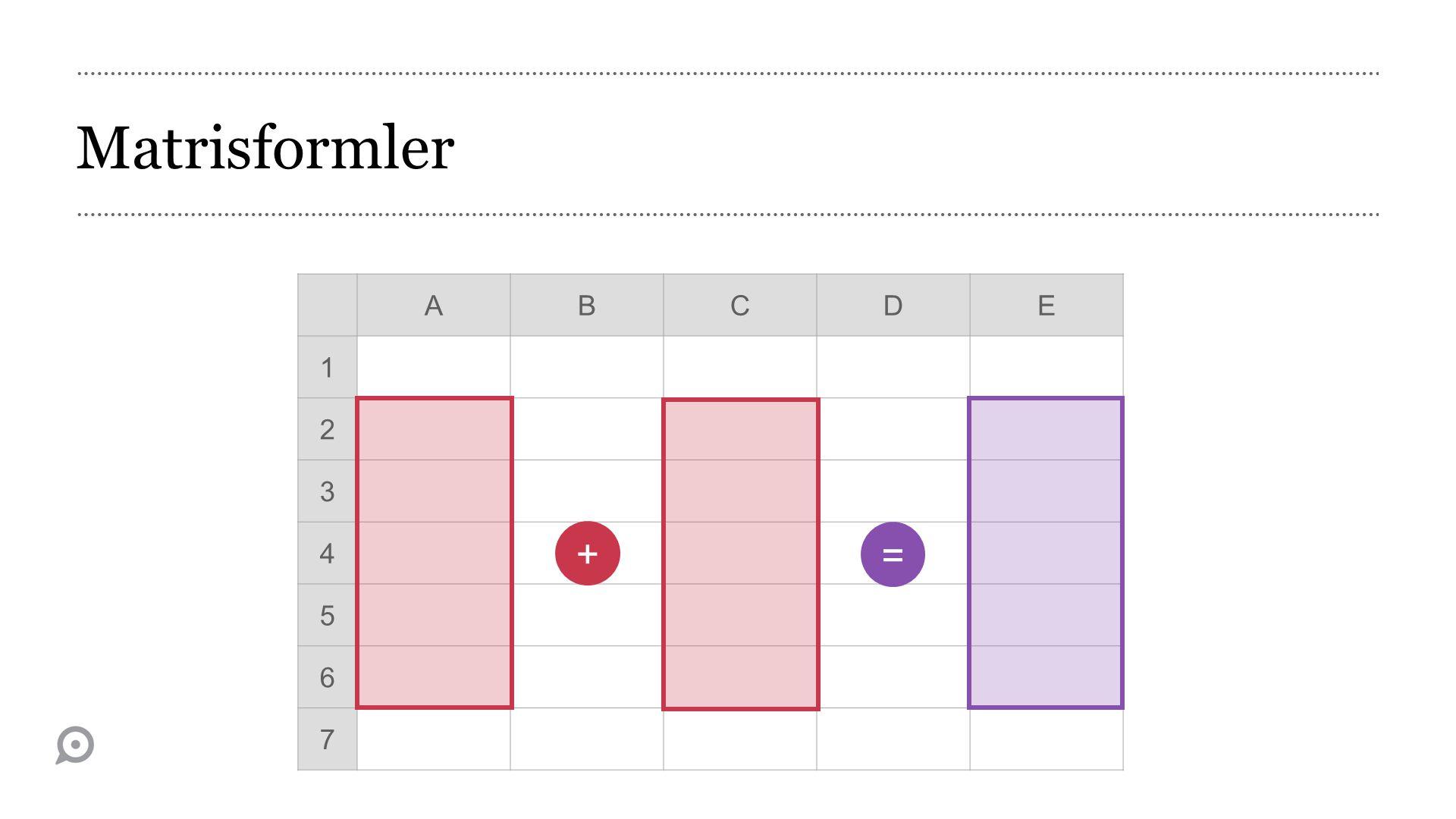Matrisformler A B C D E 1 2 3 4 5 6 7 + =