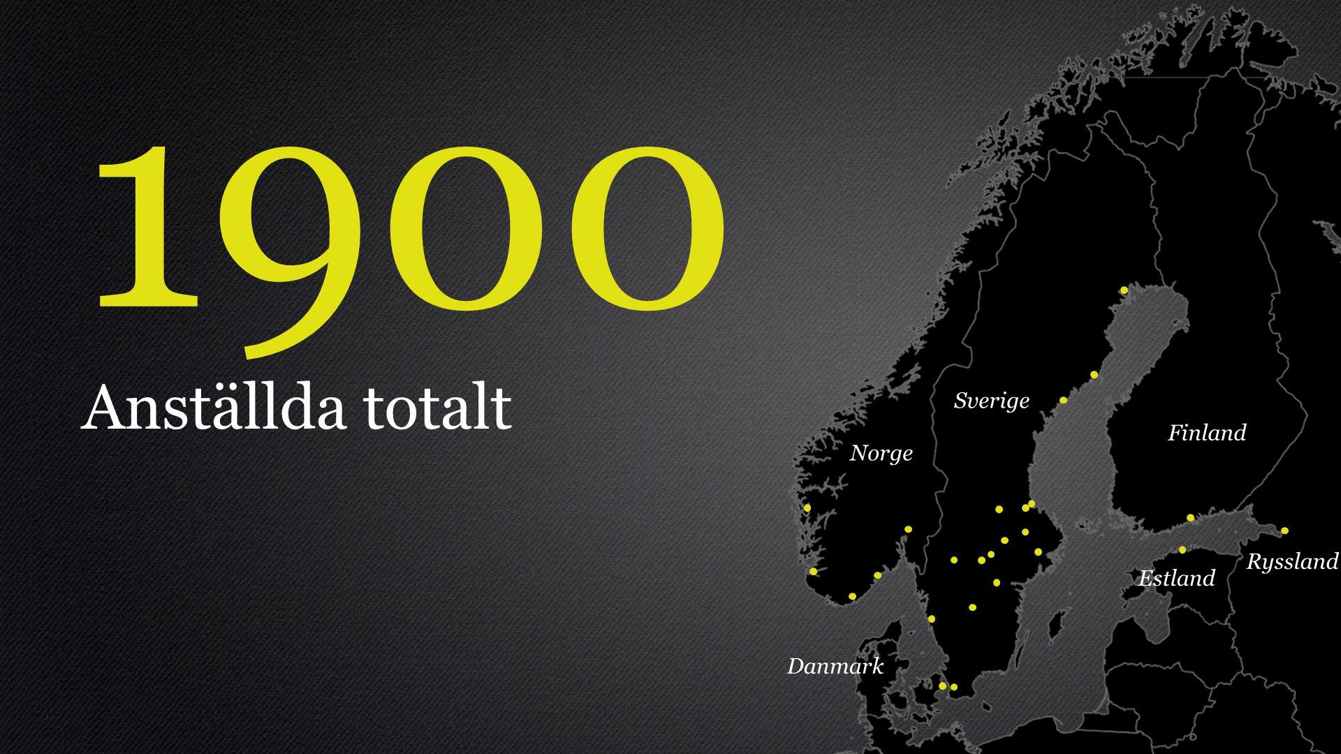 1900 Anställda totalt Sverige Finland Norge Ryssland Estland Danmark