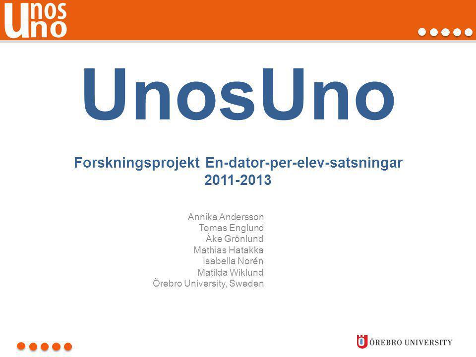 UnosUno Forskningsprojekt En-dator-per-elev-satsningar 2011-2013