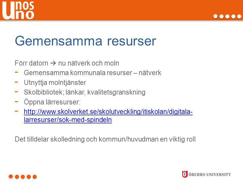 Gemensamma resurser Förr datorn  nu nätverk och moln