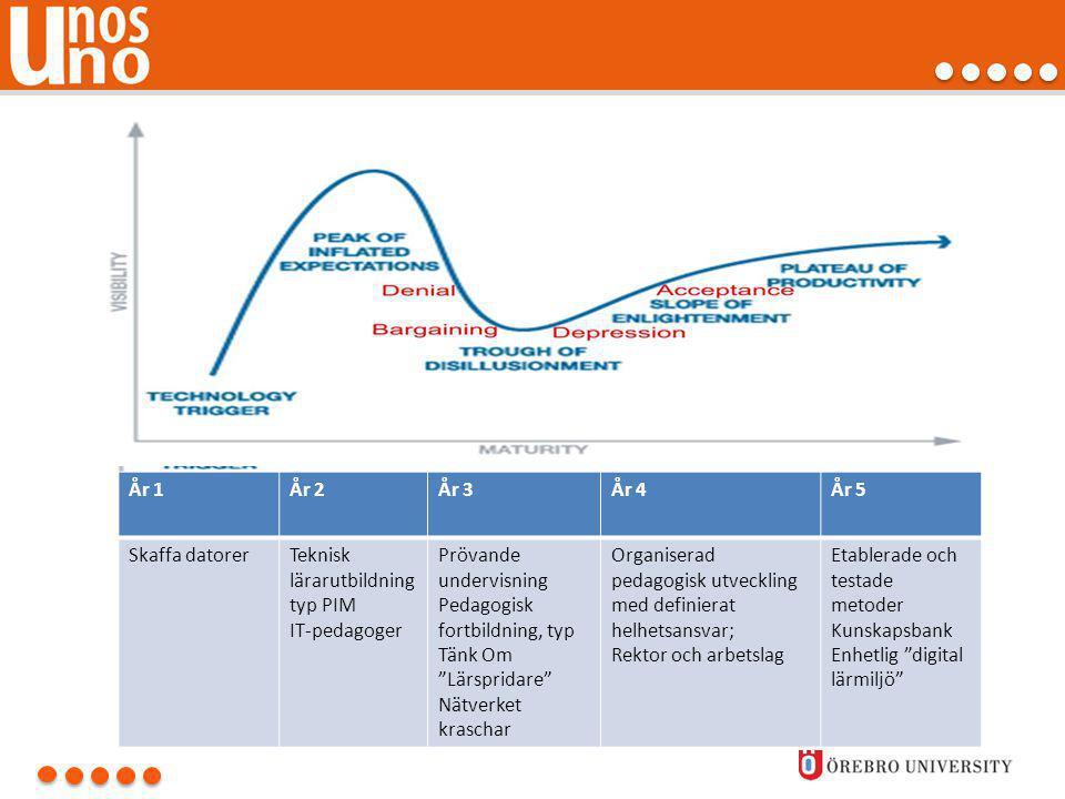 År 1 År 2. År 3. År 4. År 5. Skaffa datorer. Teknisk lärarutbildning typ PIM. IT-pedagoger. Prövande undervisning.