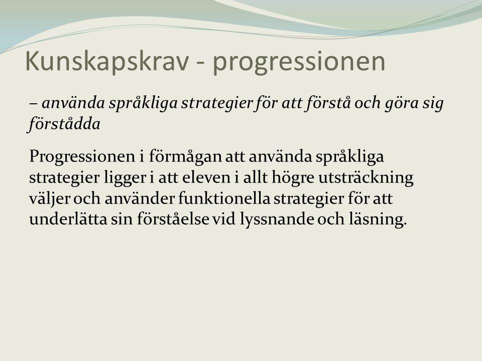Kunskapskrav - progressionen