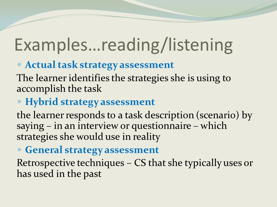 Examples…reading/listening