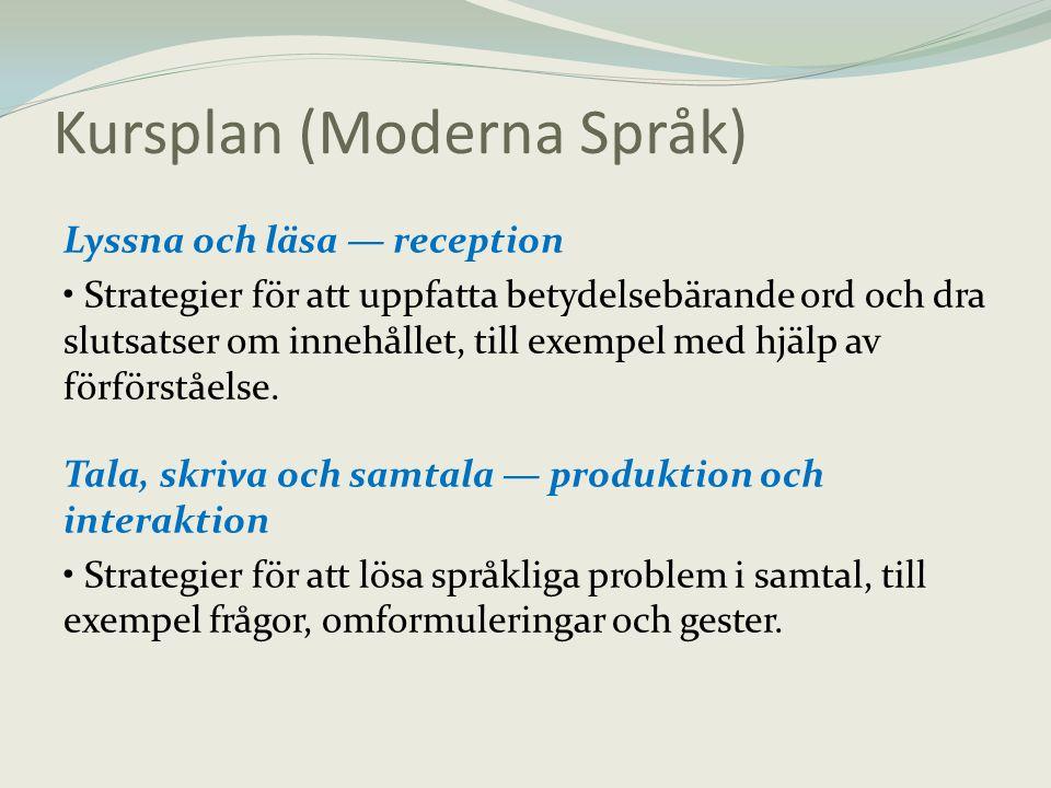 Kursplan (Moderna Språk)