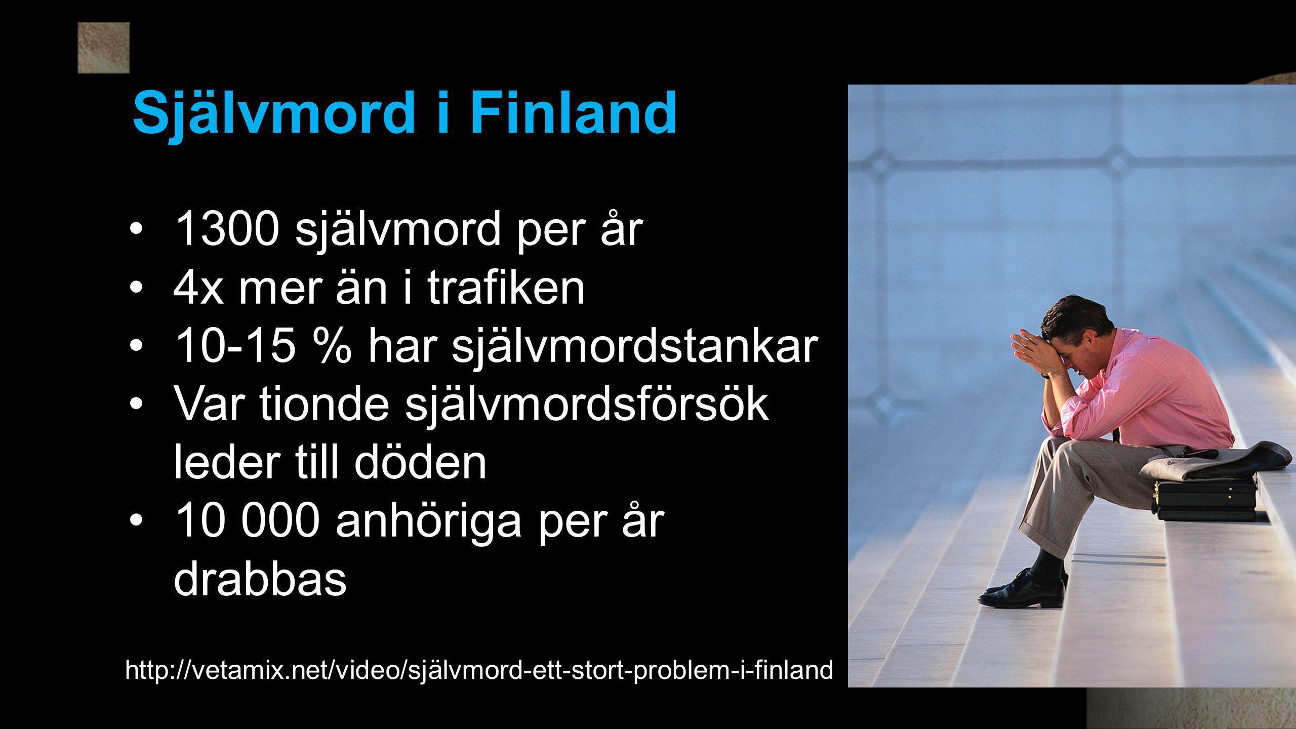Självmord i Finland 1300 självmord per år 4x mer än i trafiken