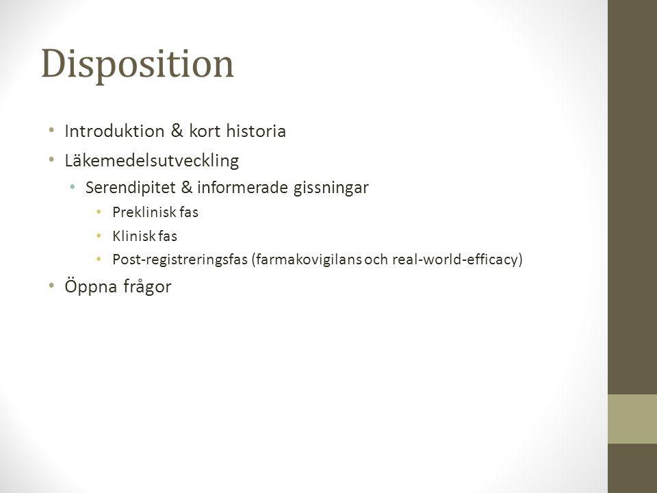 Disposition Introduktion & kort historia Läkemedelsutveckling