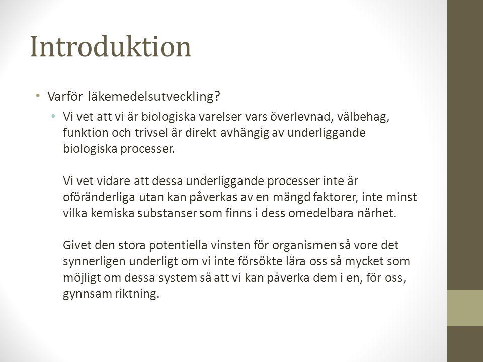 Introduktion Varför läkemedelsutveckling