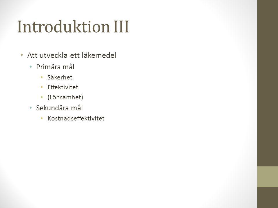 Introduktion III Att utveckla ett läkemedel Primära mål Sekundära mål