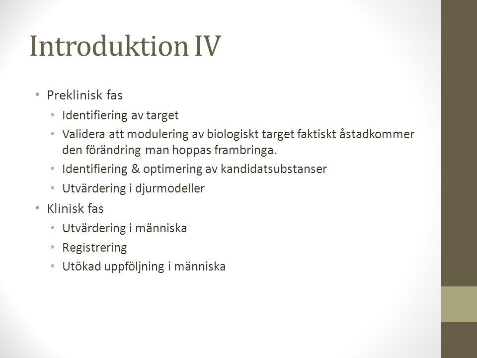 Introduktion IV Preklinisk fas Klinisk fas Identifiering av target