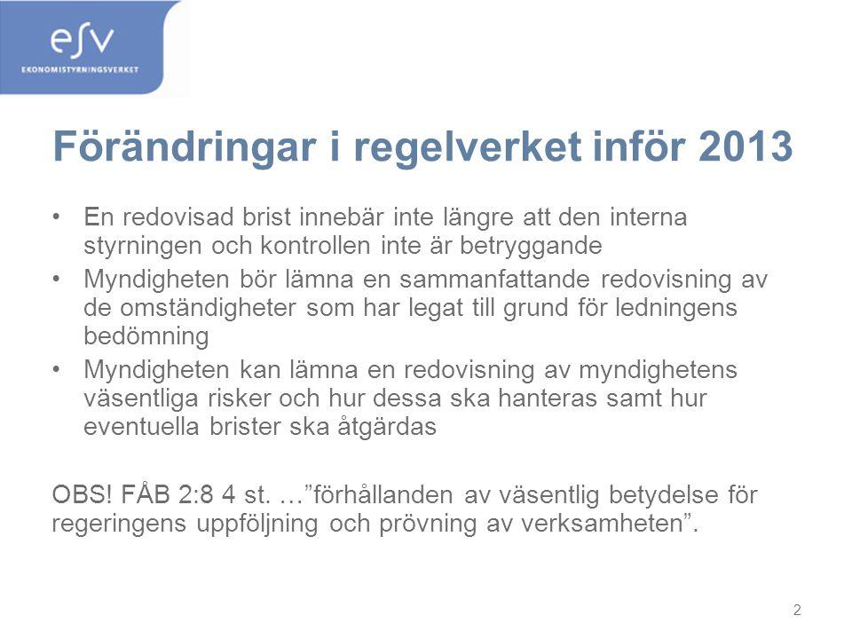 Förändringar i regelverket inför 2013
