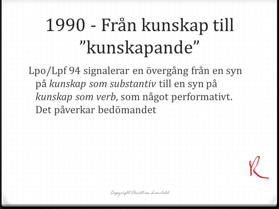 1990 - Från kunskap till kunskapande