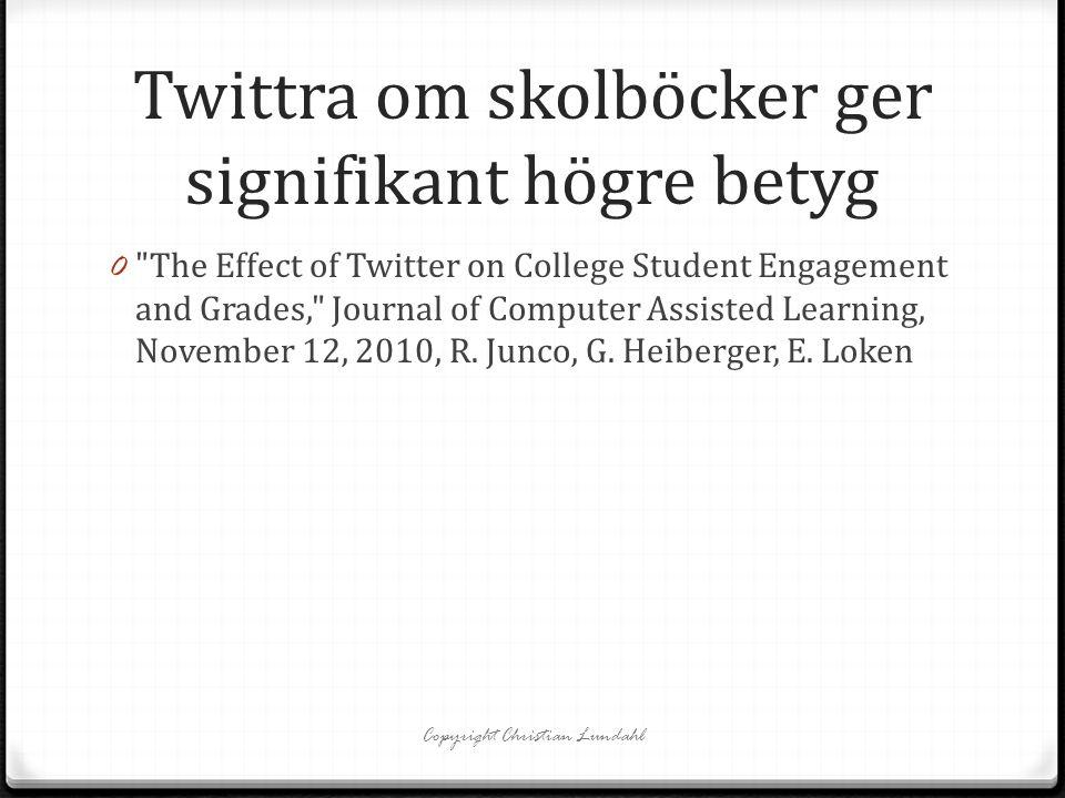 Twittra om skolböcker ger signifikant högre betyg