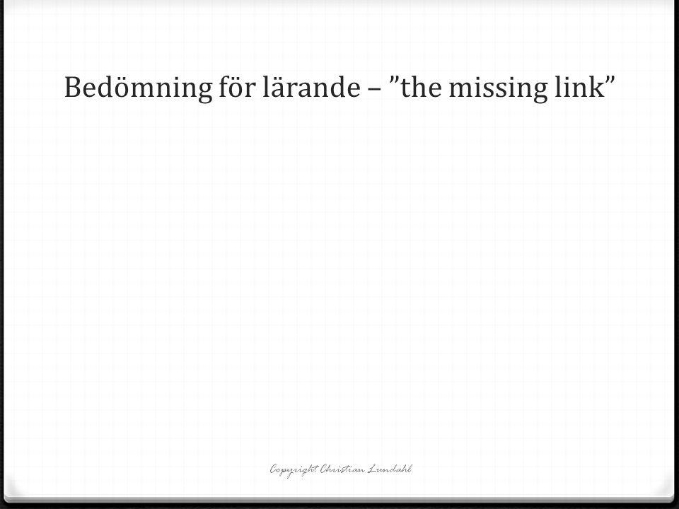 Bedömning för lärande – the missing link