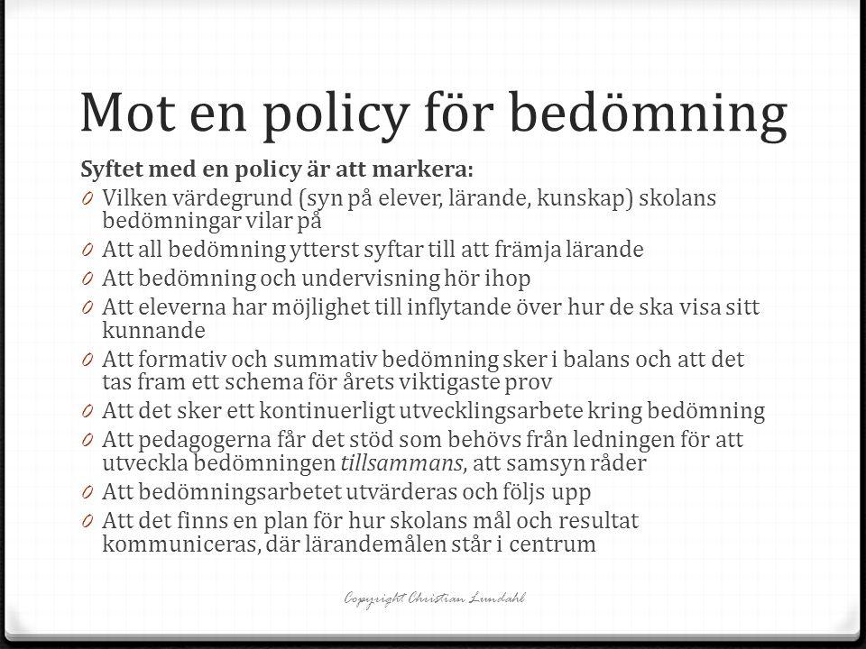Mot en policy för bedömning