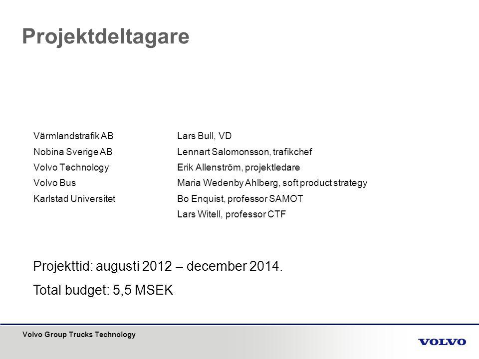 Projektdeltagare Projekttid: augusti 2012 – december 2014.
