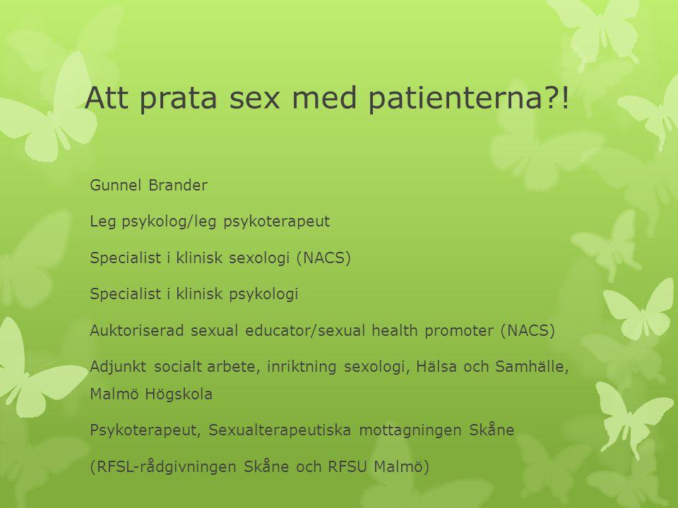 Att prata sex med patienterna !