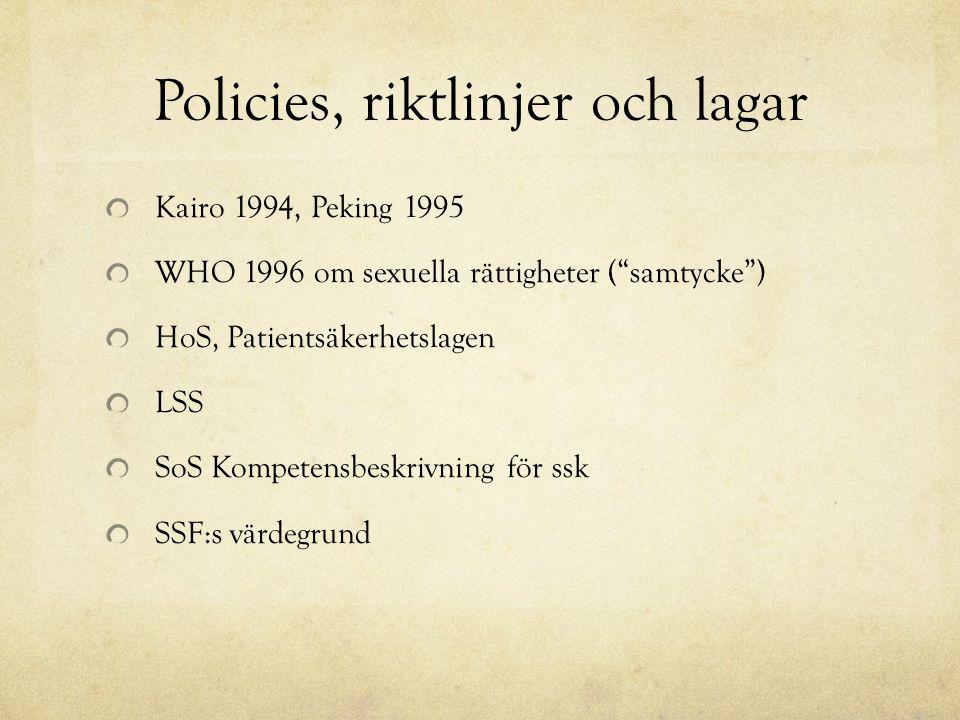 Policies, riktlinjer och lagar