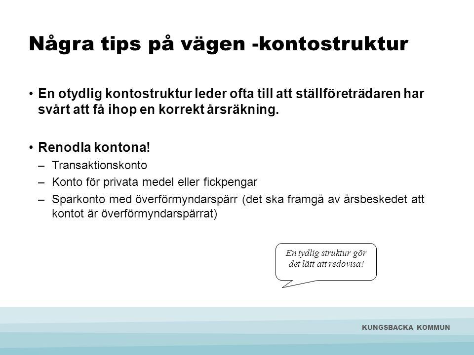 Några tips på vägen -kontostruktur