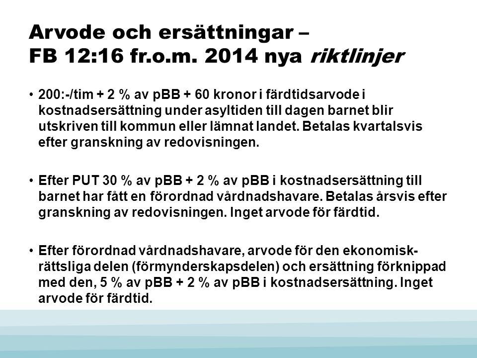 Arvode och ersättningar – FB 12:16 fr.o.m. 2014 nya riktlinjer