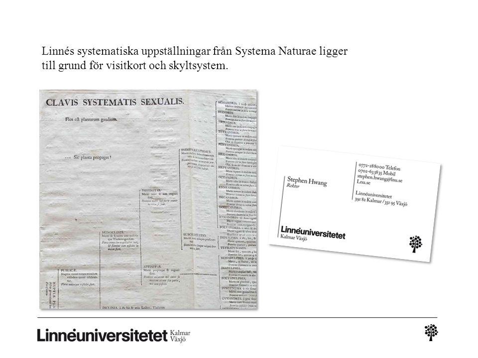 Linnés systematiska uppställningar från Systema Naturae ligger till grund för visitkort och skyltsystem.