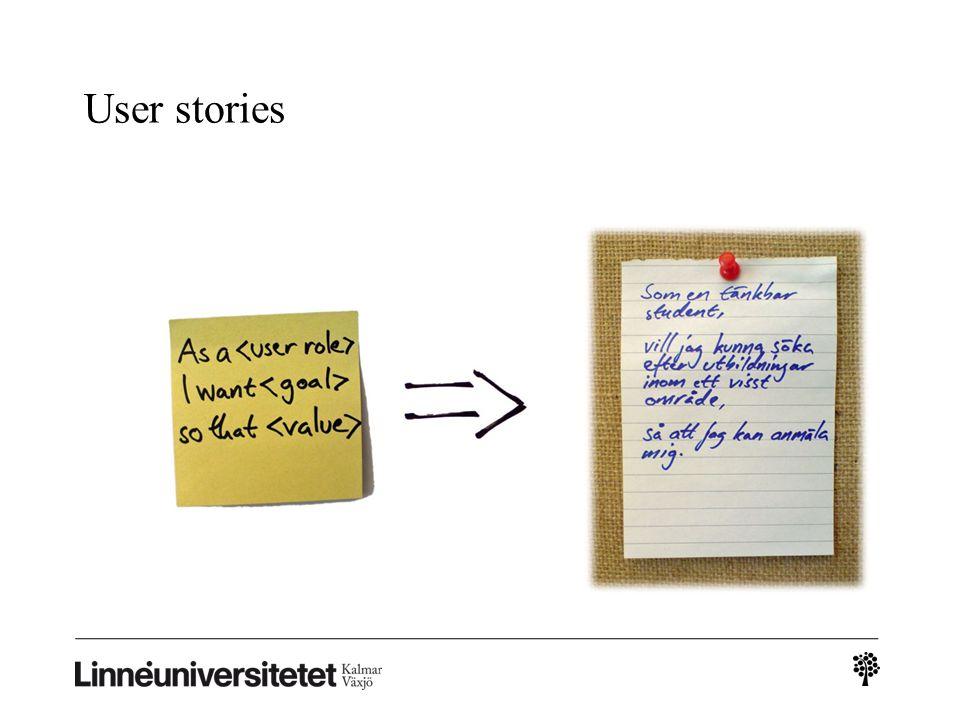 User stories En kort beskrivning som klargör en användares behov i en viss situation. Fungerar som input till utvecklare.