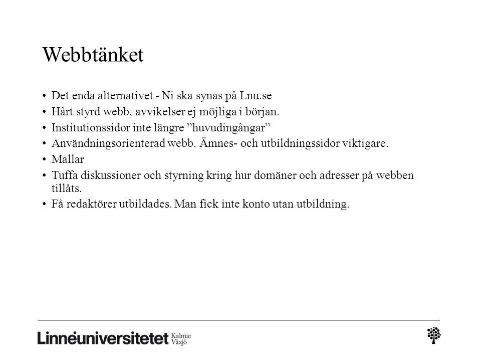 Webbtänket Det enda alternativet - Ni ska synas på Lnu.se