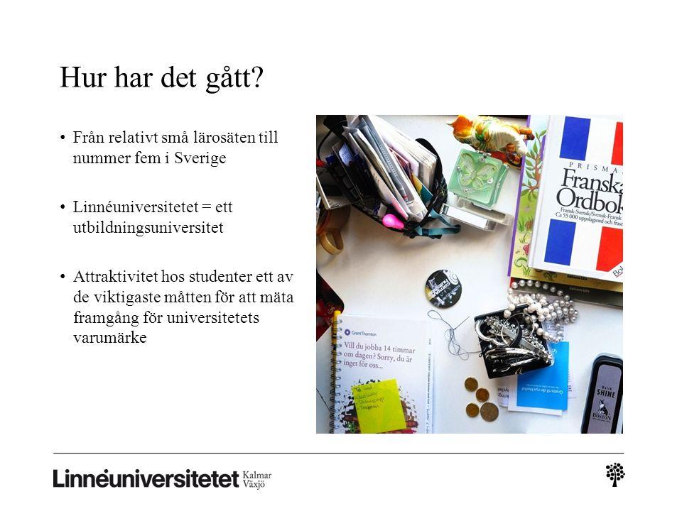 Hur har det gått Från relativt små lärosäten till nummer fem i Sverige. Linnéuniversitetet = ett utbildningsuniversitet.