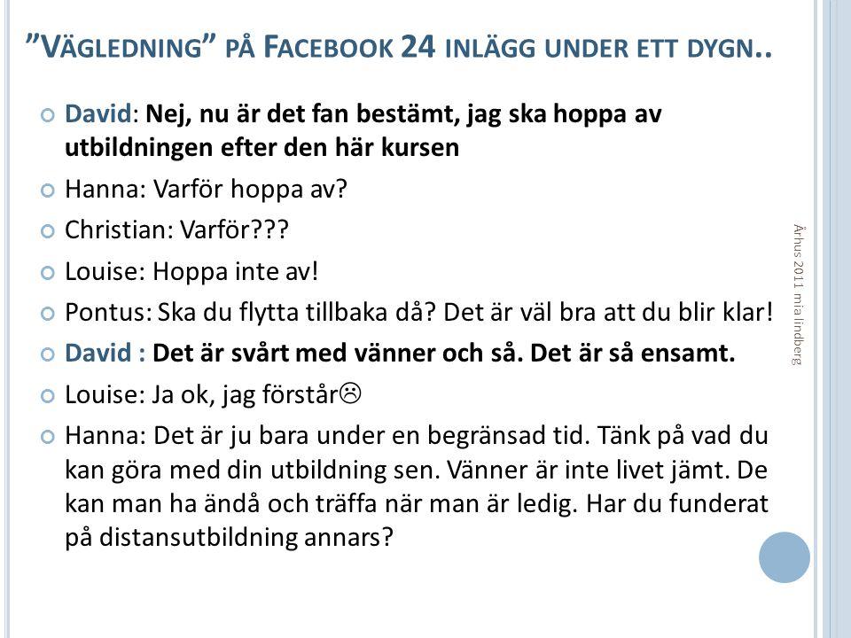 Vägledning på Facebook 24 inlägg under ett dygn..