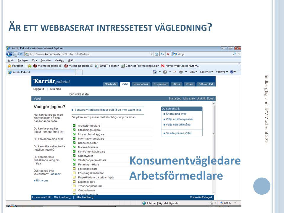 Är ett webbaserat intressetest vägledning