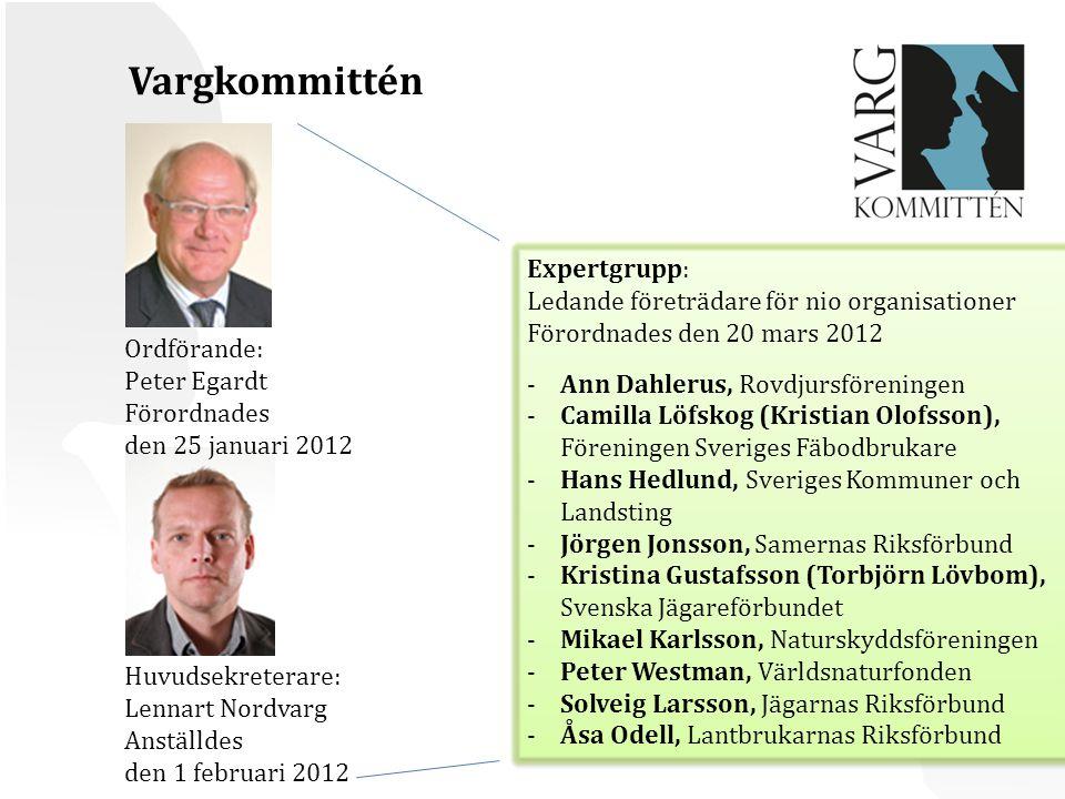 Vargkommittén Expertgrupp: Ledande företrädare för nio organisationer
