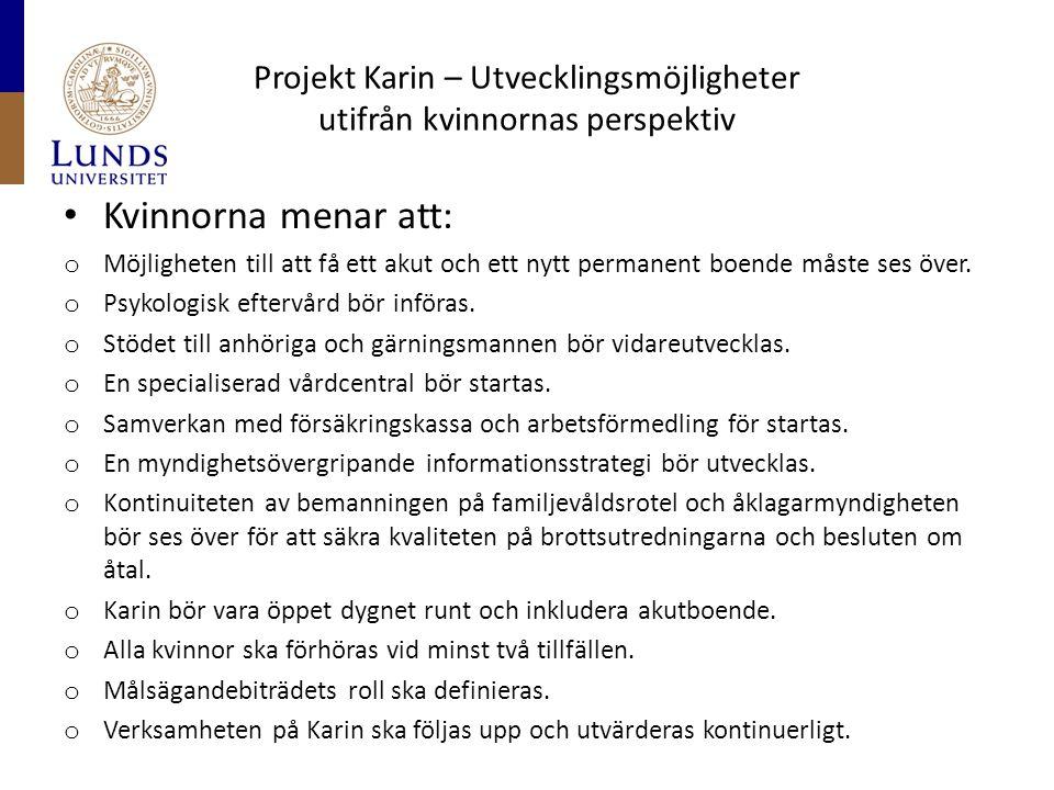 Projekt Karin – Utvecklingsmöjligheter utifrån kvinnornas perspektiv