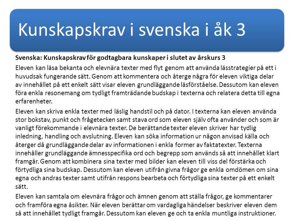 Kunskapskrav i svenska i åk 3