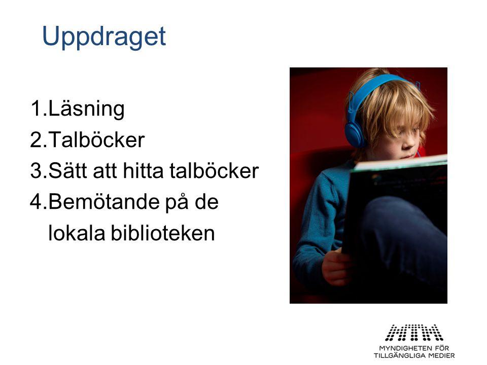 Uppdraget Läsning Talböcker Sätt att hitta talböcker Bemötande på de