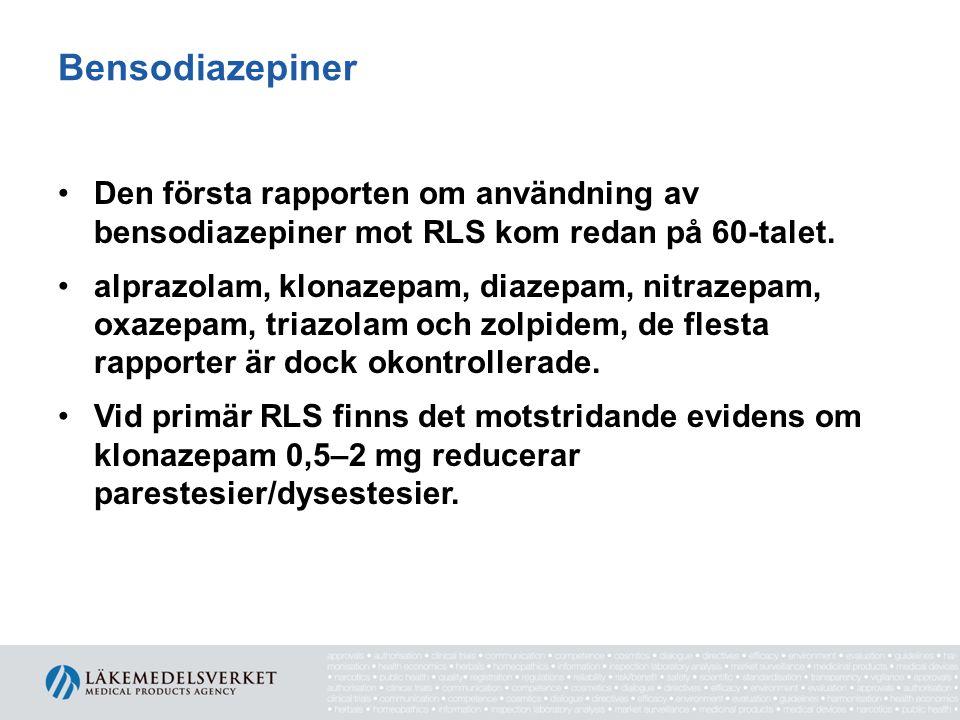 Bensodiazepiner Den första rapporten om användning av bensodiazepiner mot RLS kom redan på 60-talet.