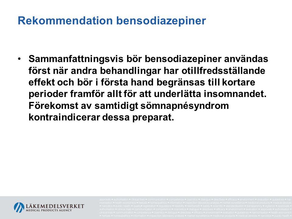 Rekommendation bensodiazepiner