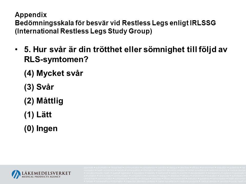Appendix Bedömningsskala för besvär vid Restless Legs enligt IRLSSG (International Restless Legs Study Group)