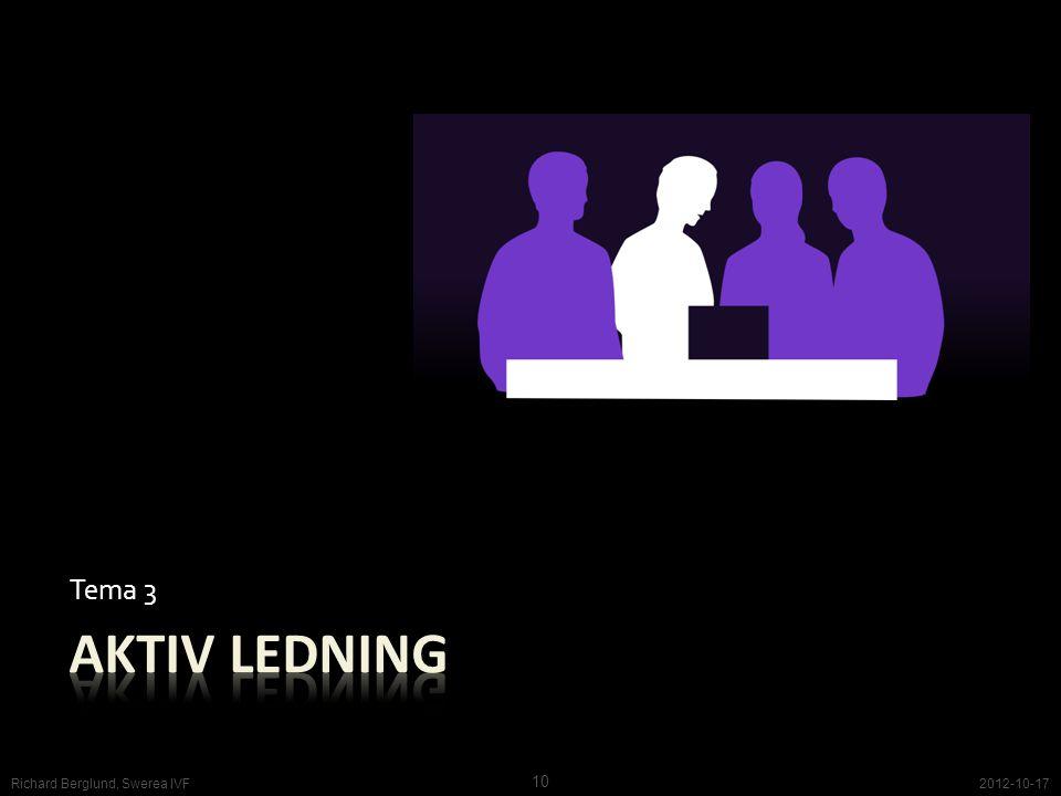 Tema 3 Aktiv ledning Richard Berglund, Swerea IVF 2012-10-17