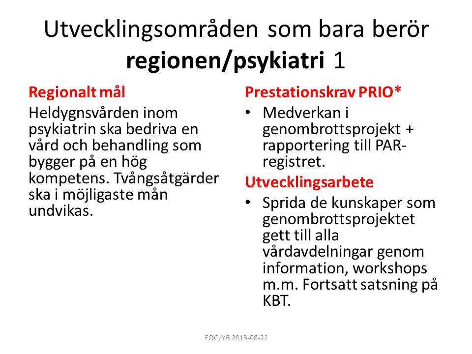 Utvecklingsområden som bara berör regionen/psykiatri 1
