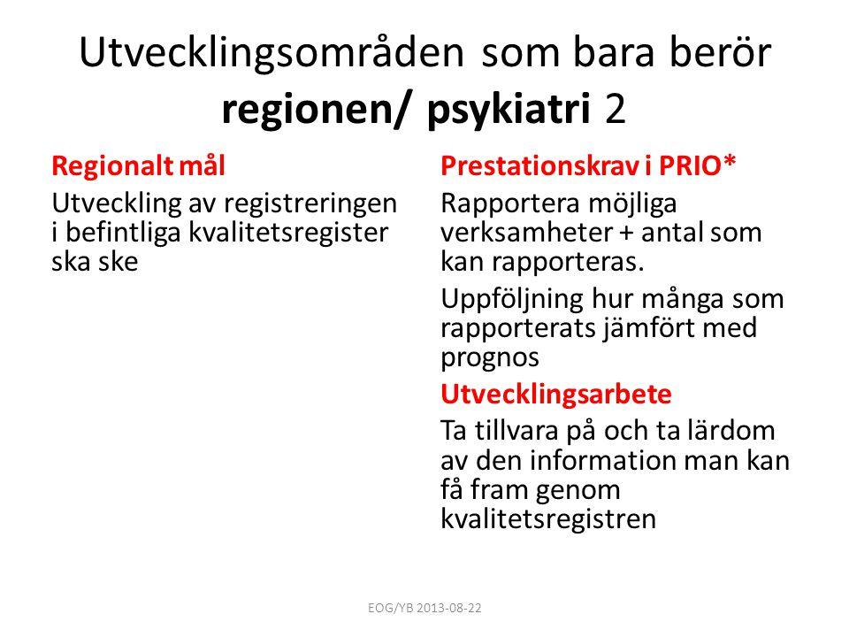Utvecklingsområden som bara berör regionen/ psykiatri 2