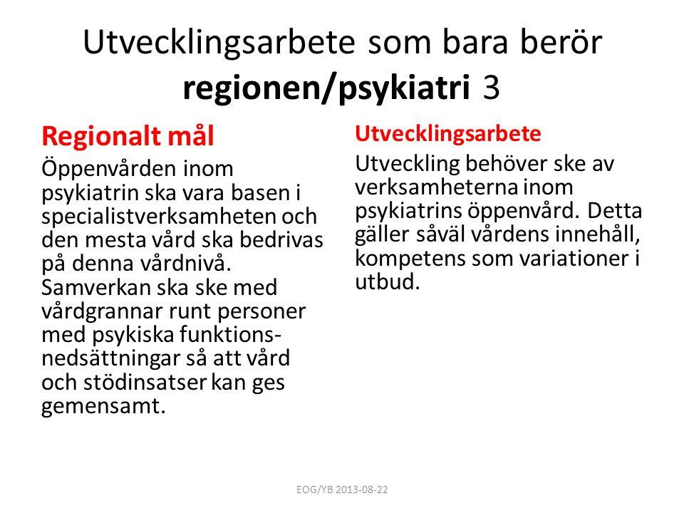 Utvecklingsarbete som bara berör regionen/psykiatri 3