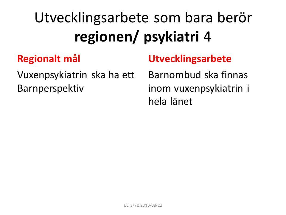 Utvecklingsarbete som bara berör regionen/ psykiatri 4